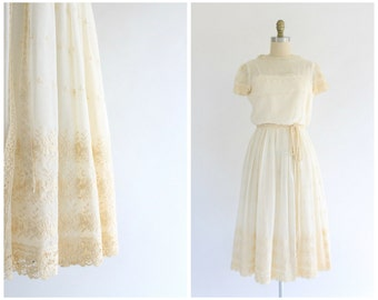 vintage 1970s cream sheer embroidered lace dress | 70s lace dress | vtg sheer dress | x-small