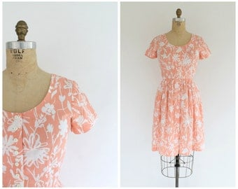 vintage 1980s peach floral scoop neck sundress | 80s pink day dress | vtg floral dress | small