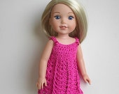 "14.5"" Doll Clothes Crocheted Pink Dress Handmade to fit the Wellie Wishers doll and other similar dolls Bright Pink Dress"