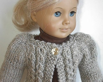 18 Inch Doll Clothes Knit Cardigan Sweater with Puff Sleeves and Cables on Yoke in Natural Handmade to fit American Girl Doll - Ready to Go