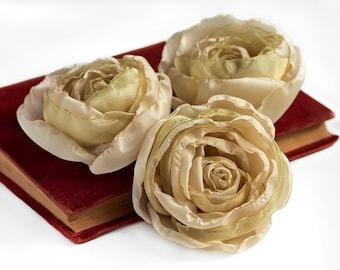 Fabric Flowers - beige flowers, handmade fabric flowers, wedding flowers, wedding decor, artificial flowers, DIY wedding, bridal flowers