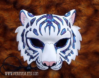 READY TO SHIP Astral Tiger #1 Leather Mask... cat costume galaxy stars masquerade burning man mardi gras halloween festival