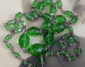 Antique Necklace Deco Green Faceted Glass Beads Metal Bead Caps