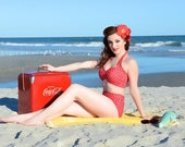 SALE Red Dolly Red & White polka dot Retro Pin up High waist bikini Two piece swimsuit size xs-xl