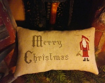 pRiMiTiVe - MeRrY cHriStMaS - EaRLy LoOk CrOsS sTiTcH piLLow -WoW - SaLe