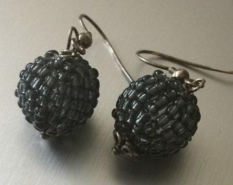 Seed Bead Ball Earrings