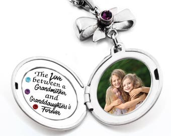 Granddaughter Grandmother Necklace, Personalized Grandmother Necklace, Engraved Quote, Granddaughter Photo, Stainless Steel