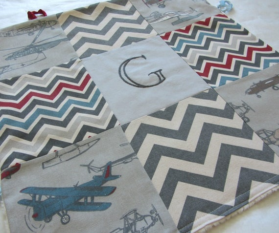 Large 24 inch Lovey with Custom Hand Embroidered Initial or Name ~ Vintage Airplanes ~ Chevron ~ Gray Blue Red Beige  ~ Nursery Decor ~ Boy