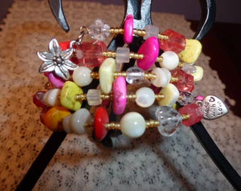 Handmade Memory Wire Bracelet with Variety of Beads in Hot Summer Colors using Czech Glass, Shell, Gemstone Chips, Mother of Pearl, Charms