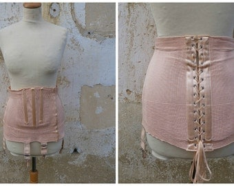 Vintage 1950/50s burlesque French salmon pink sateen & elastic fabric girdle lingerie corset pin up La chatte