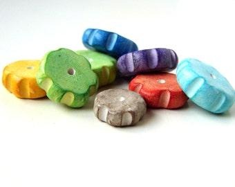 S A L E - Handmade Polymer Clay Disc Beads