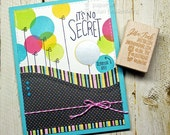 It's No Secret Its Your Birthday Balloons Scratch-Off Fancy Greeting Card Handmade Blue Pink Yellow Green Black Wife Girlfriend Sister