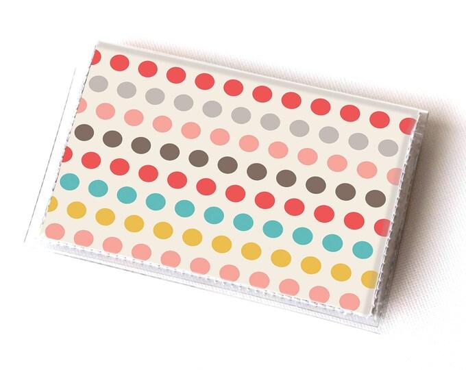 Vinyl Card Holder - Polka / geometric, happy, colorful, dots, card case, vinyl wallet, women's wallet, small, pretty, handmade, cute, retro
