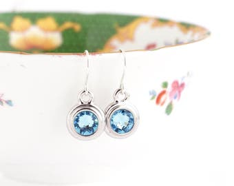 March Birthstone Earrings - Birthday Stone Jewelry - Pale Blue Birthstone - March Birthday Gift - Birthstone Dangle Earrings