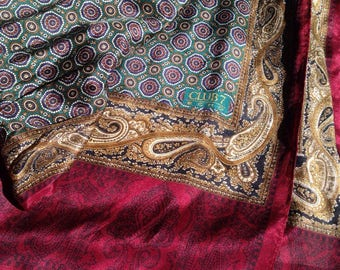 Vintage 80s Scarf ECHO Paisley Silk Jewel Tones Burgundy, Teal, Gold CLUB 7 1980s