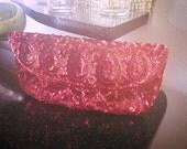 Vintage 1930s Purse Clutch pink red sequin 1940s handbag 30s 40s