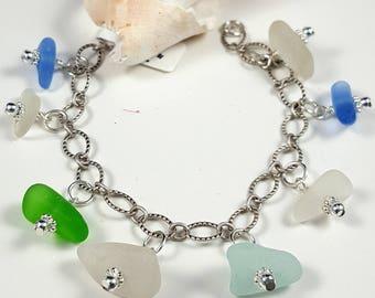 Sea Glass Bracelet Sea Glass Jewelry Sterling Silver Bracelet Aqua Cobalt Blue Sea Glass Bracelet Beach Glass Bracelet B-257