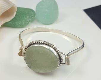 Cuff Bracelet Aqua Sea Glass Bracelet Sea Glass Jewelry Aqua Sea Glass Hook Bracelet Sterling Silver Bracelet Aqua Sea Glass Bracelet B-270