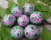 Sweet Set of Chunky Handmade Polymer Clay Beads in Soft Pink With Green and Purple
