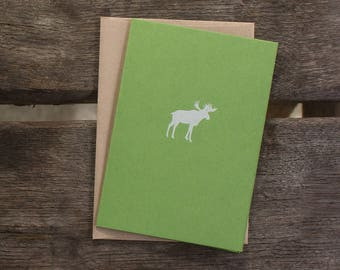 moss green MOOSE folded notecards | set of 5 or boxed gift set of 10