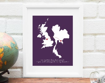 Country to Country Map, Two Countries Connected, Long Distance Family Miss You Gift, Thinking of You Gift, Gift for Long Distance Engagement