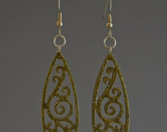 Olive Green Upcycled Corian Teardrop Filigree Dangle Drop Earrings - Handmade Recycled Earrings by Mark Noll - Gift for Her
