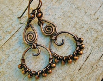 All Copper Wire Wrapped, Hammered and Beaded antiqued hoop dangle earrings