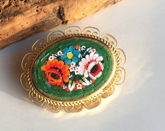 Micro Mosaic Floral Brooch, Vintage Brooch, Micro-Mosaic Italian Brooch, 1960s Brooch, Micromosaic Pin, Flower Pin, Colorful Brooch