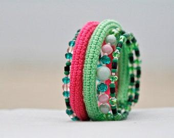 Crochet beaded wrap memory wire bracelet - pink and green bracelet