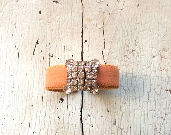 Terracotta Adjustable Cuff with Rhinestones
