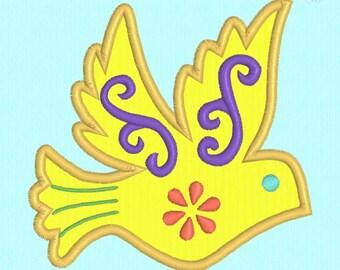 Bird applique machine embroidery design file