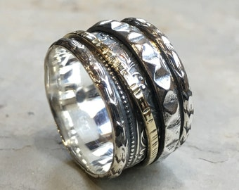 Silver wedding ring, wide band, silver brass ring, spinners ring, Twotone ring, floral band, gypsy ring, unisex band- We believe R2451