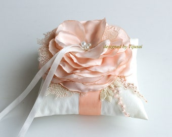 Wedding ring bearer pillow with pink/peach flower ---wedding rings pillow , ring bearer pillow, ring cushion, ready to ship