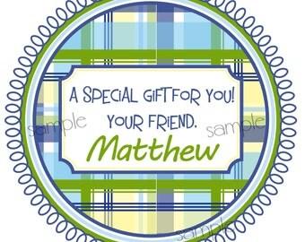Boys Birthday Stickers,Boys Gift labels, Plaid gift labels, Children, Kids, Favor, plaid gift labels, Set of 12