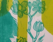 One of a Kind Monoprint Hand Printed Letterpress Poster linocut wood engraving wood type no105