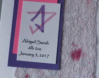 New Baby Girl Card  Personalized including Judaic Parents Blessing and Star of David