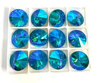 18 mm (3/4  inch) stones ..count 12.. Aquamarine  rivoli's ..costume, pageant, jewelry, crafts..