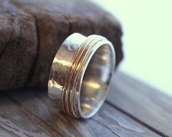 Sterling Silver Goldfilled Spinner Ring - Silver Gold Worry Fiddle Ring