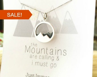 The Mountains are Calling and I Must Go, mountain necklace, Sterling silver necklace, jewelry gift for her, gift for hiker go move mountains