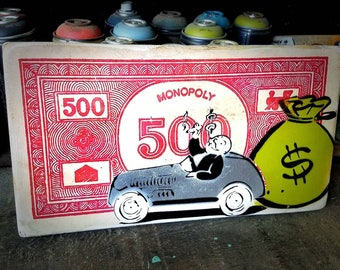 Monopoly Mixed Media Graffiti Art Painting on Photo Transfer Original Art on Handmade Canvas Home Decor Pop Art Uncle Pennybags Gallery