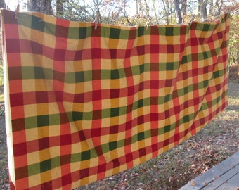 Vintage Heavy Woven Cotton Shower Curtain - Fully Lined Plaid Shower Curtain