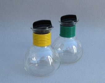 Mid Century Cory Glass Coffee Decanters Green & Yellow 12 Ounce Capacity Cory Coffee Server Vintage Glass Carafe