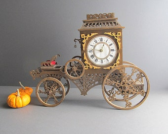 Vintage Scroll Wood Carriage, Carriage Clock, Scroll Art Wood Carriage, Mantel Clock, Bar Clock, Bar Decoration