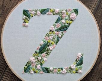 Hand embroidered letter. Monogram letter. Floral letter. Hoop art.