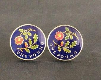 2013  UK floral emblems of England pound  coin cufflinks Rose and Oak   uncirculated 22mm