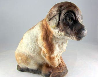 Vintage Paper Mache Dog 1920s Brown and Cream Coloring Composition Dog Collectible Dog