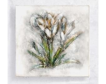 Flower Art - Botanical Print - Floral Art Block - 5x5 Canvas Print on Wood Frame - White Crocus - Nature Art Wall Art - Home Decor