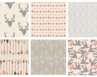BUNDLE - Hello Bear - Wild and Free - Wanderer - Art Gallery Fabrics - Bonnie Christine - Deer Antlers Arrows Leaves Peach Gray