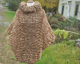 Poncho sweater, cowl neck, chunky knit poncho,slouchy cover up, handknit wrap, beige brown tweed, boho top, women medium large, men small