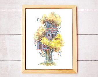 Treehouse Series 18 Watercolor Art Print - Digital Download